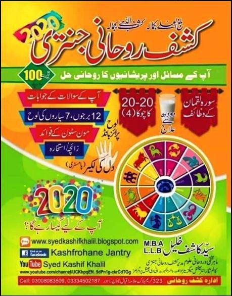 Kashaf Rohani Jantri 2020 PDF Free Download